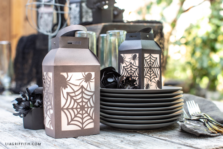papercut spider web lanterns