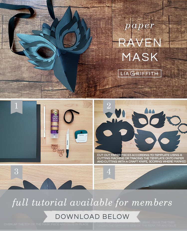 photo tutorial for paper raven mask by Lia Griffith