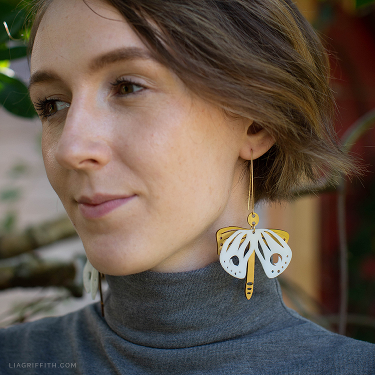 shrink film moth earrings