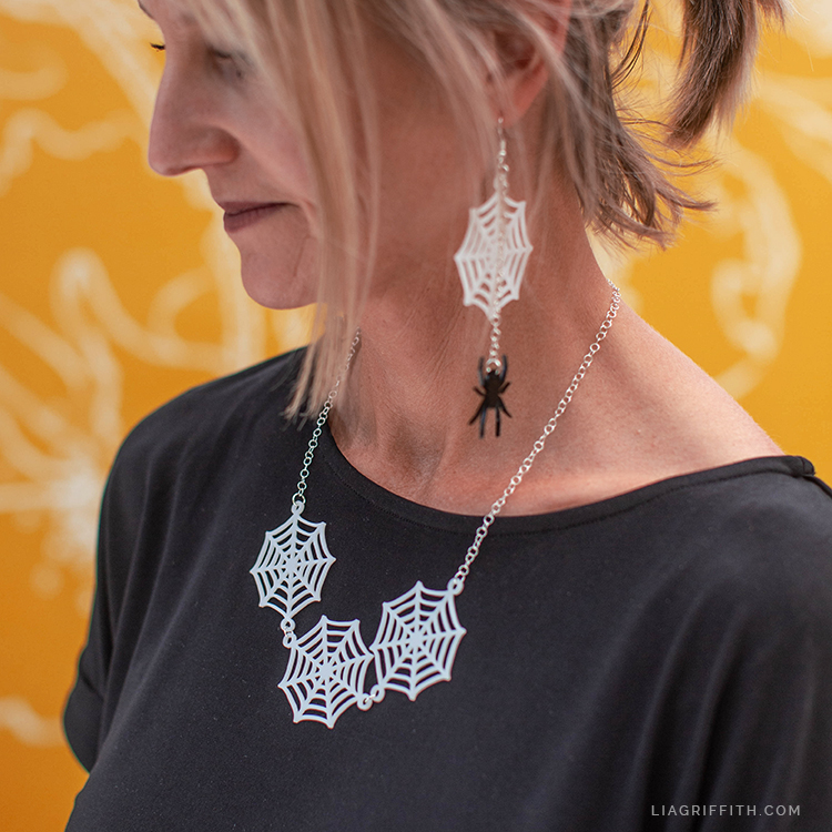 shrink film spider web necklace and earrings
