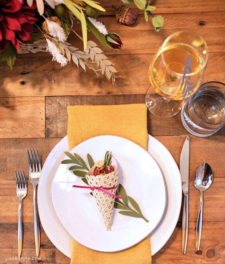 Thanksgiving tablescape with cornucopia treat cone