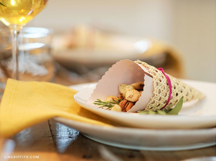 handmade cornucopia treat cone for your Thanksgiving table