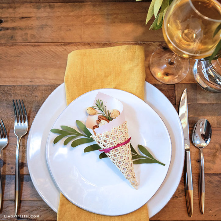 Thanksgiving place setting with DIY cornucopia treat cone