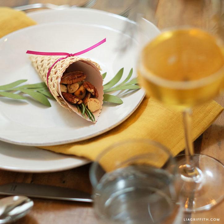cornucopia treat cone for Thanksgiving dinner