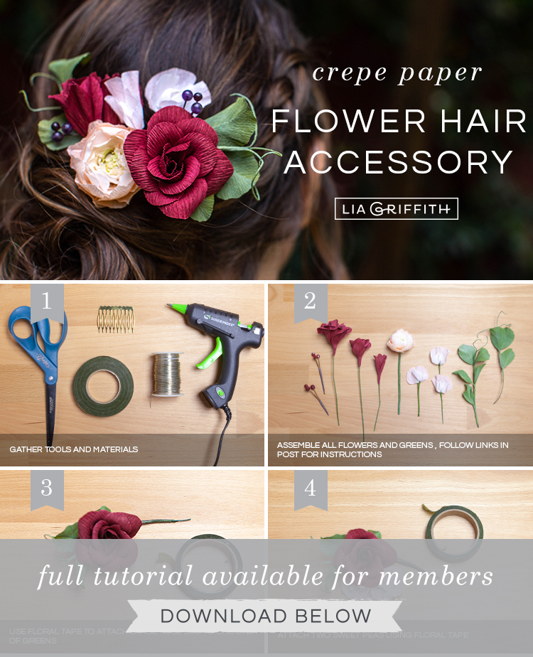 Photo tutorial for crepe paper flower hair comb by Lia Griffith