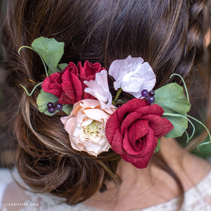 crepe paper flower hair comb for fall wedding