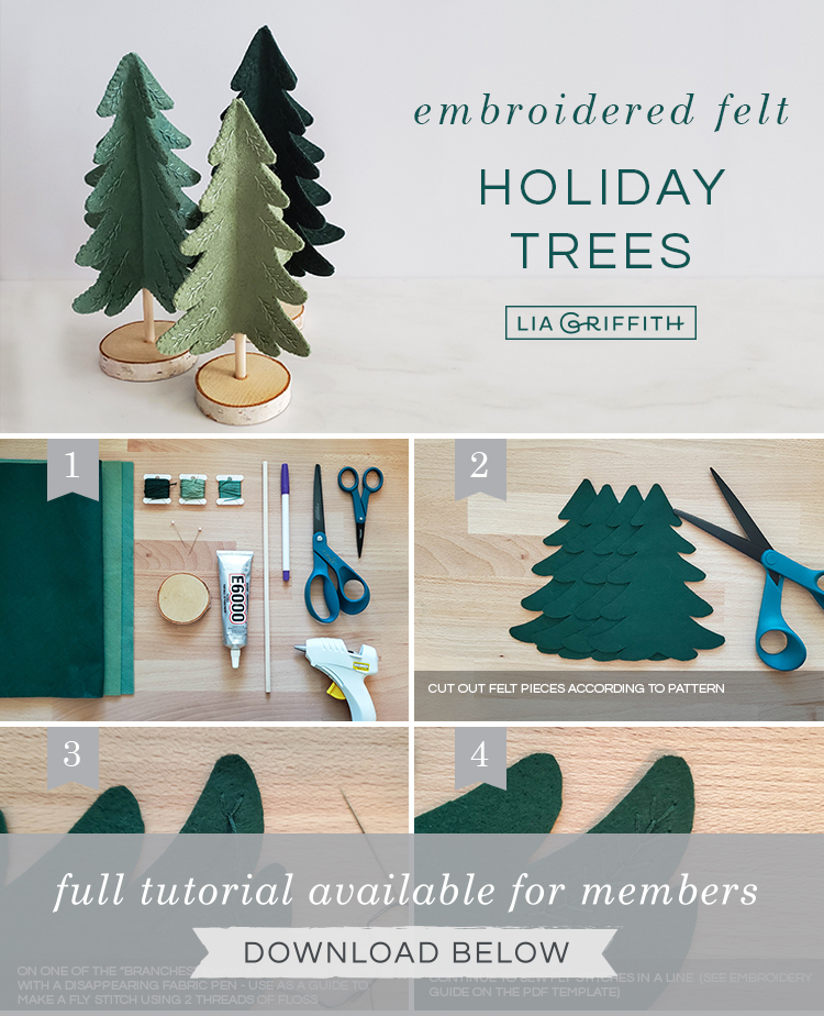 photo tutorial for embroidered felt Christmas tree by Lia Griffith