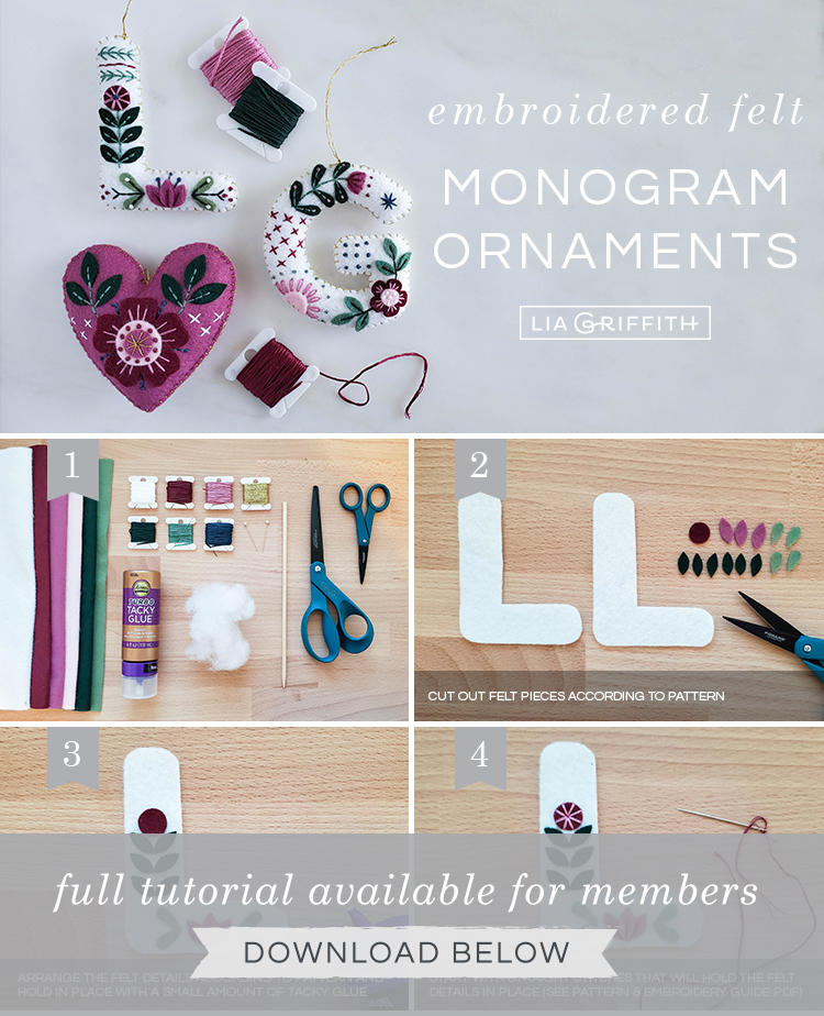 Photo tutorial for embroidered felt monogram ornaments by Lia Griffith