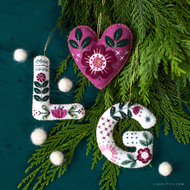 embroidered felt monogram ornaments and heart ornament