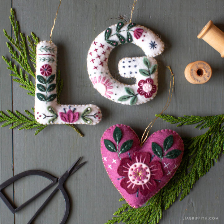 DIY embroidered felt monogram ornaments and heart ornament