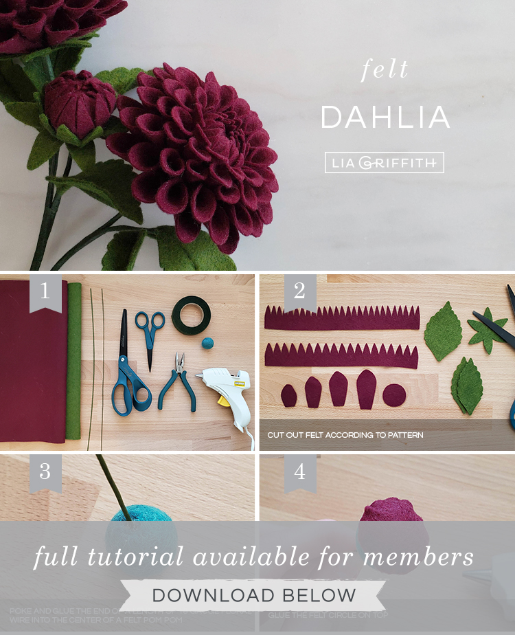 Photo tutorial for felt dahlia by Lia Griffith