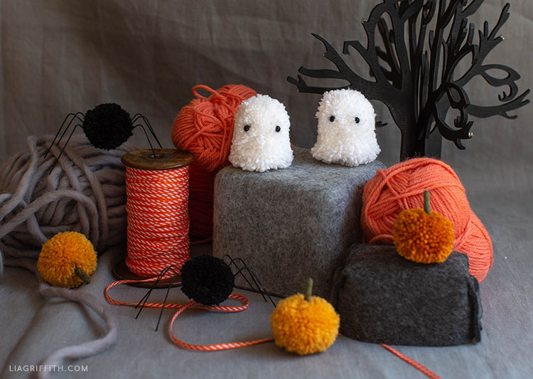 pom-pom spiders, ghosts, and pumpkins