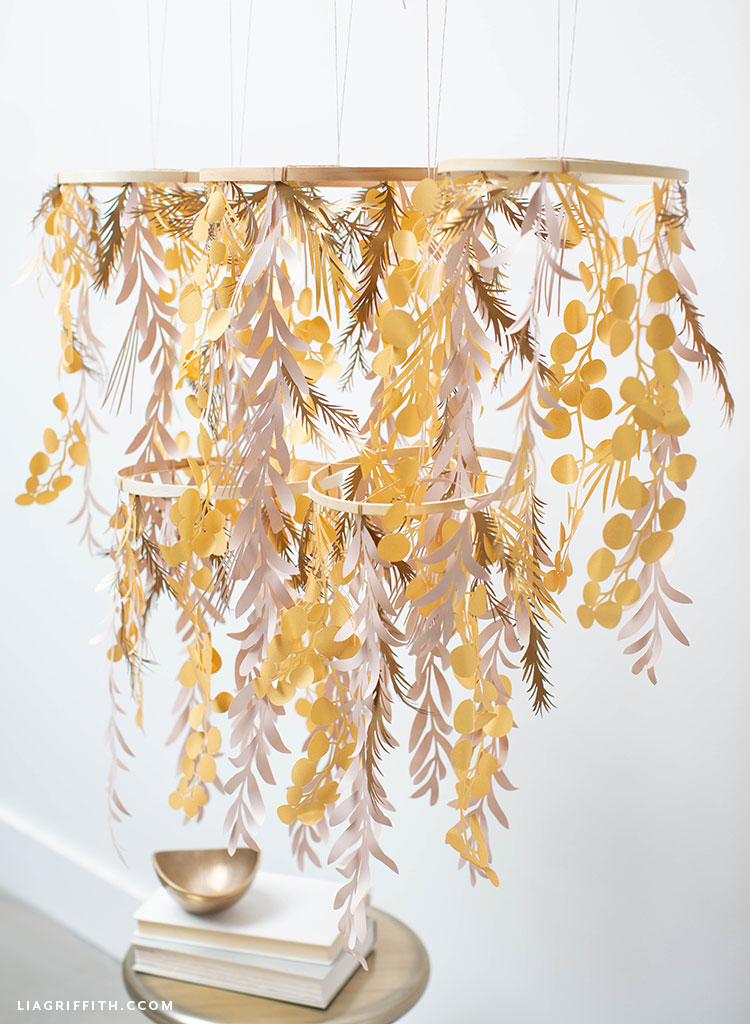 DIY paper leaf chandelier