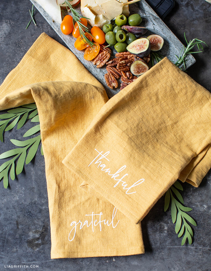 personalized Thanksgiving napkins with SVG cut files