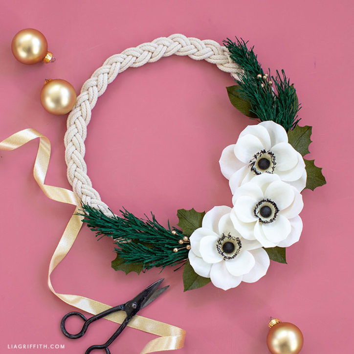 DIY crepe paper anemone holiday wreath