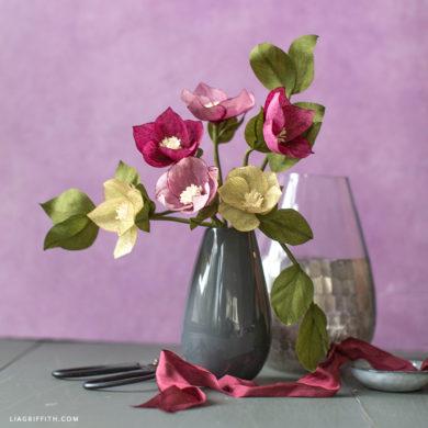 crepe paper hellebore flower bouquet