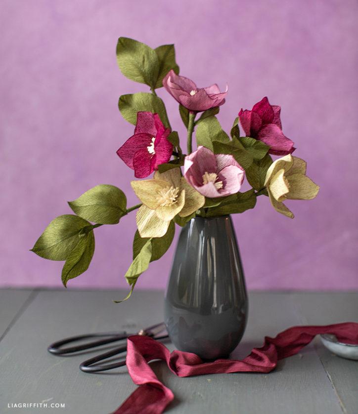DIY crepe paper hellebore flower bouquet