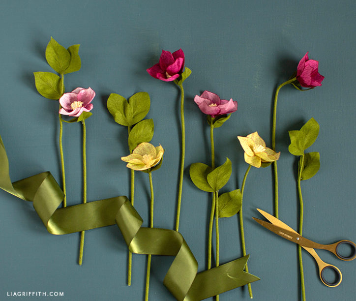handcut crepe paper hellebore flowers