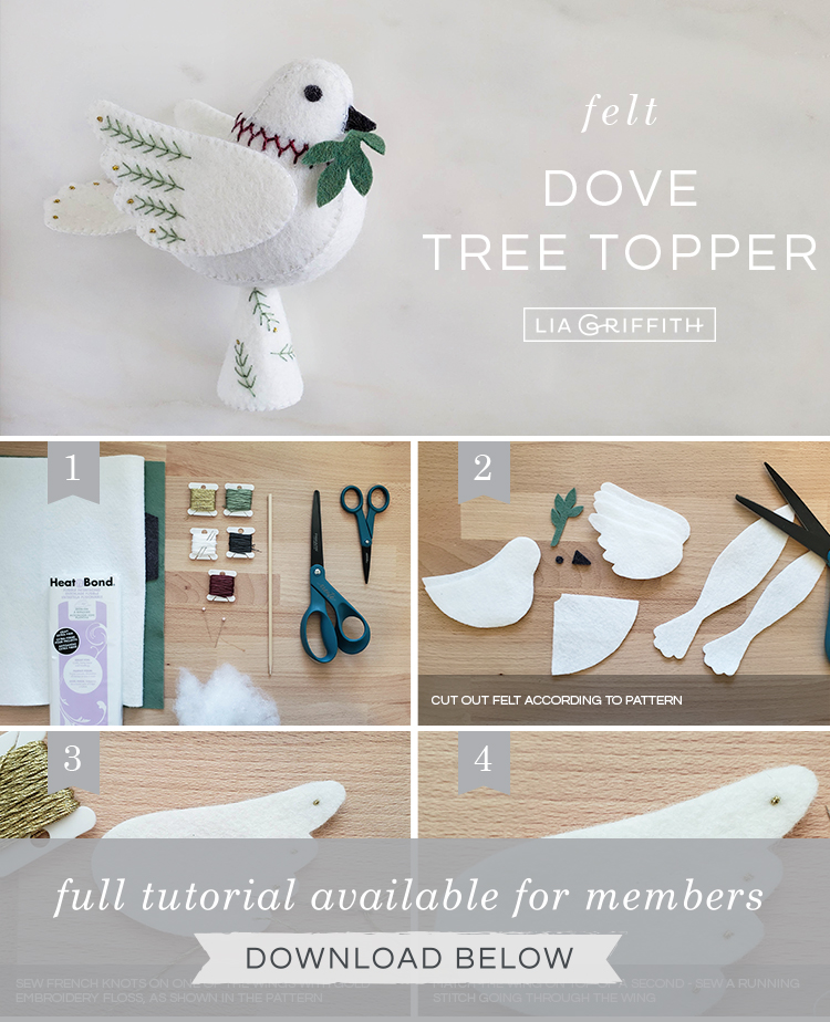 Photo tutorial for felt dove tree topper by Lia Griffith