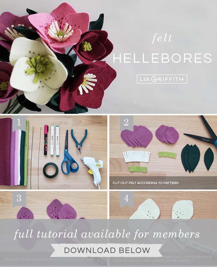 Photo tutorial for felt hellebore flower by Lia Griffith