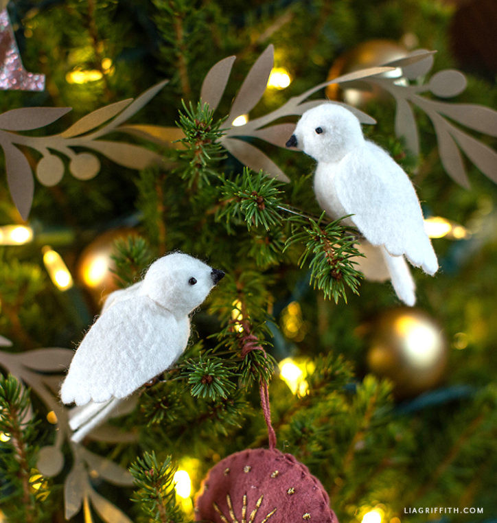 DIY felt dove ornaments for Christmas tree