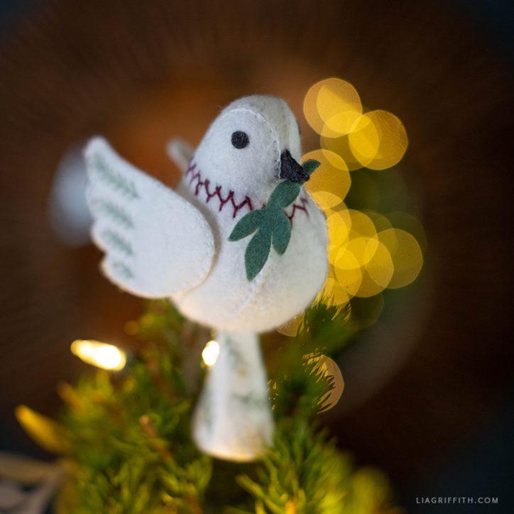 handsewn dove tree topper