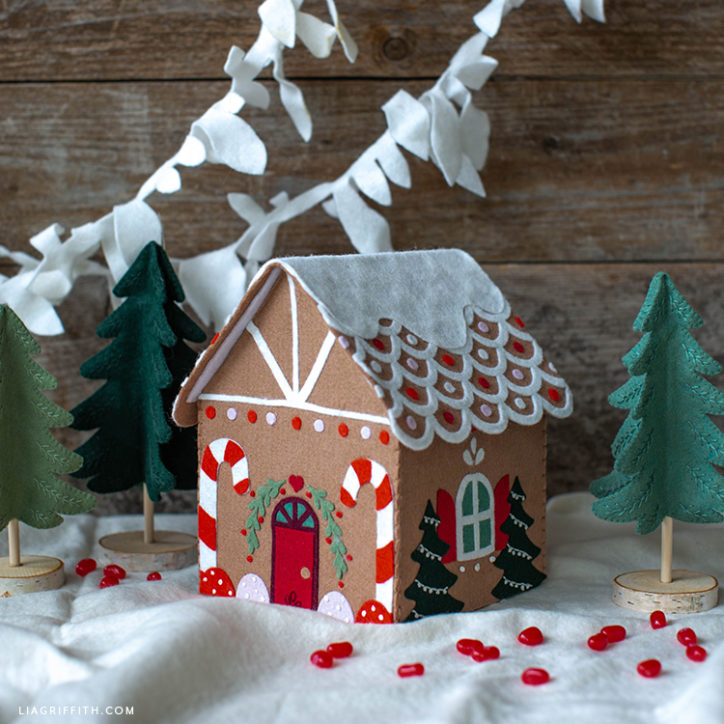gingerbread house template felt  How to Make a Felt Gingerbread House - Lia Griffith