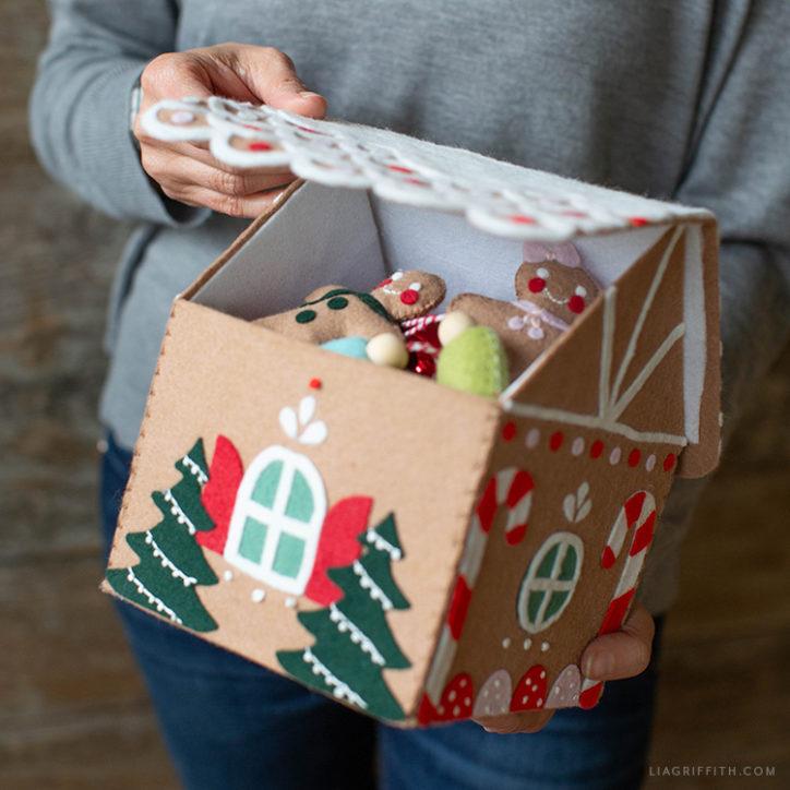 handmade felt gingerbread house