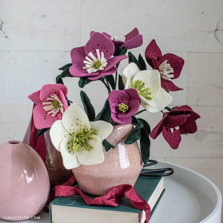 felt hellebore bouquet