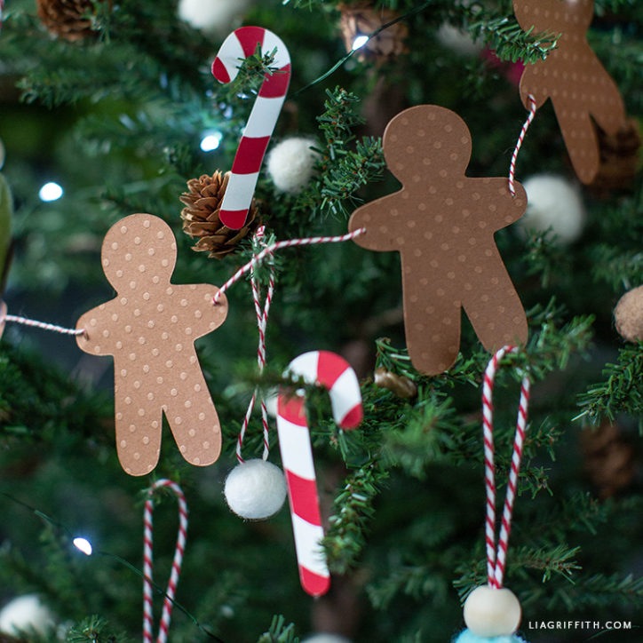 paper candy canes and gingerbread decorations