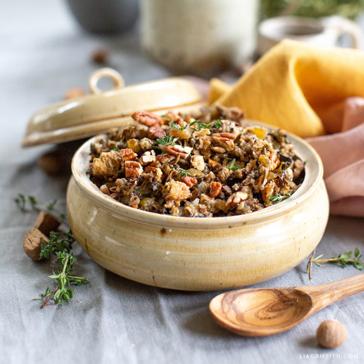 mushroom, pecan, and wild rice stuffing