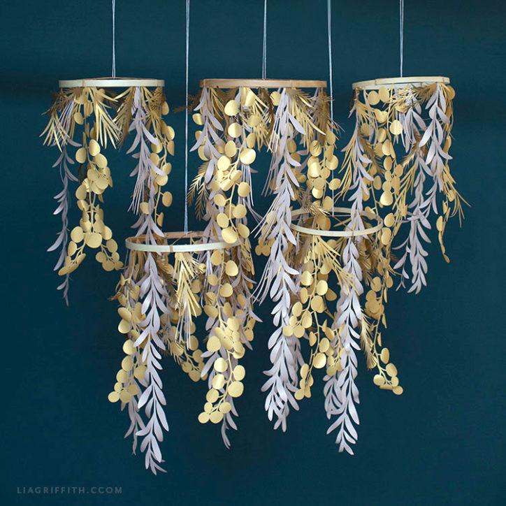 Paper leaf chandelier