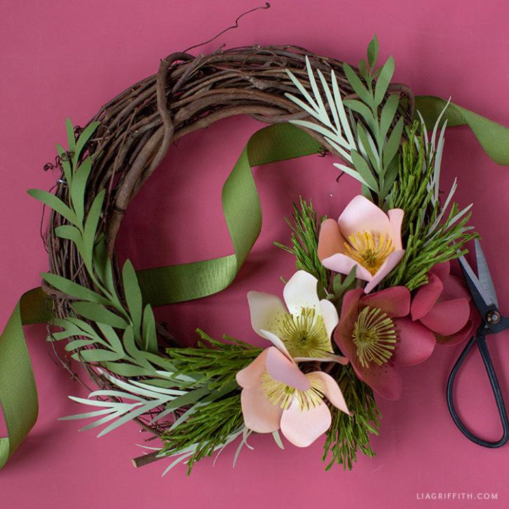 paper hellebore winter wreath