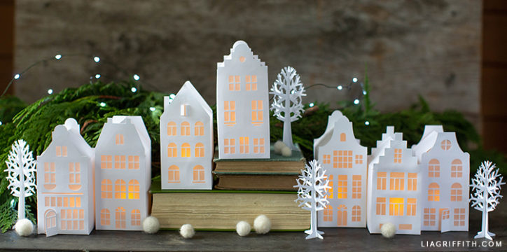 Papercut European houses and trees for Christmas scene