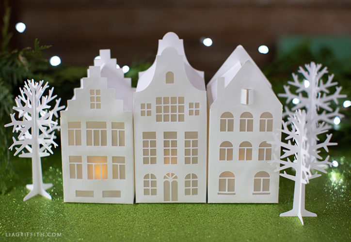 DIY papercut European houses with paper trees