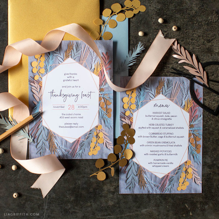 Printable Thanksgiving invitation and menu