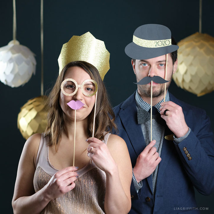 DIY photo booth props for New Year's Eve party