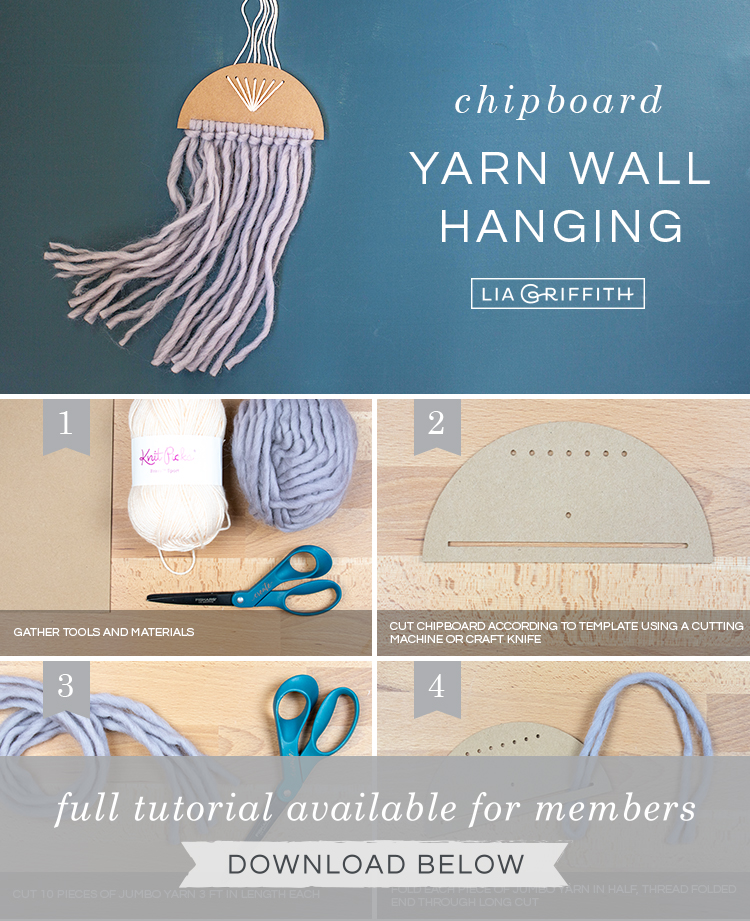 Photo tutorial for simple yarn wall hanging by Lia Griffith