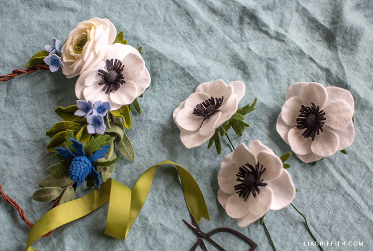handcut felt anemone flowers