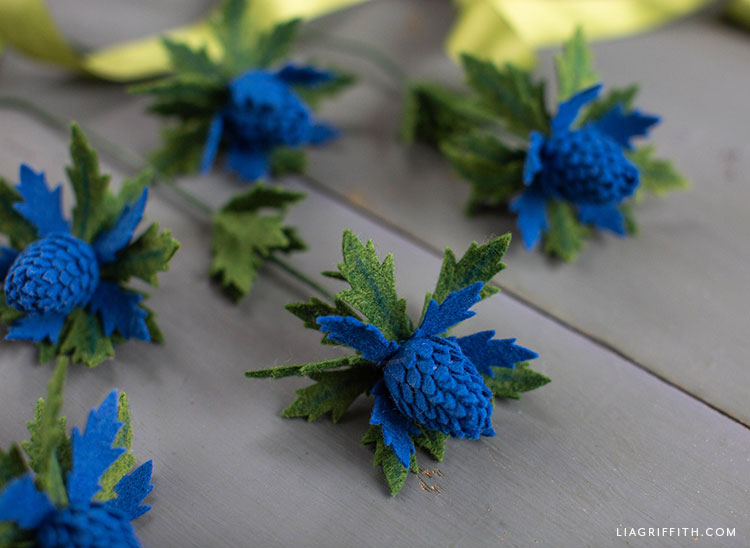 blue felt thistle flowers