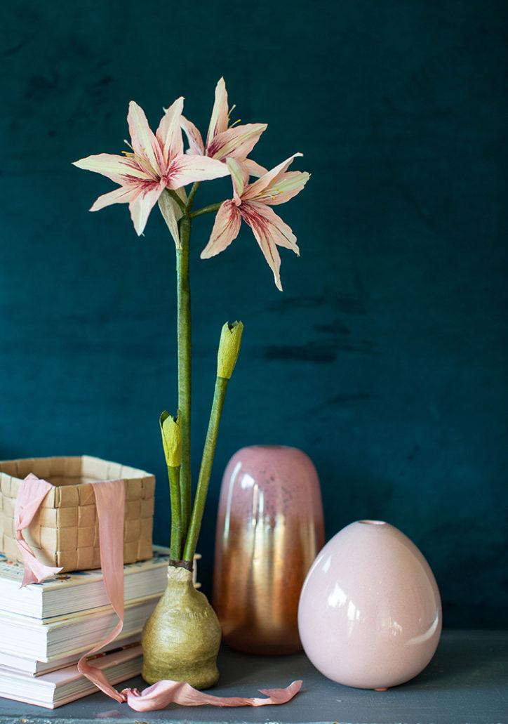 crepe paper waxed amaryllis