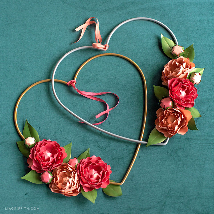 frosted paper blooming heart wreaths