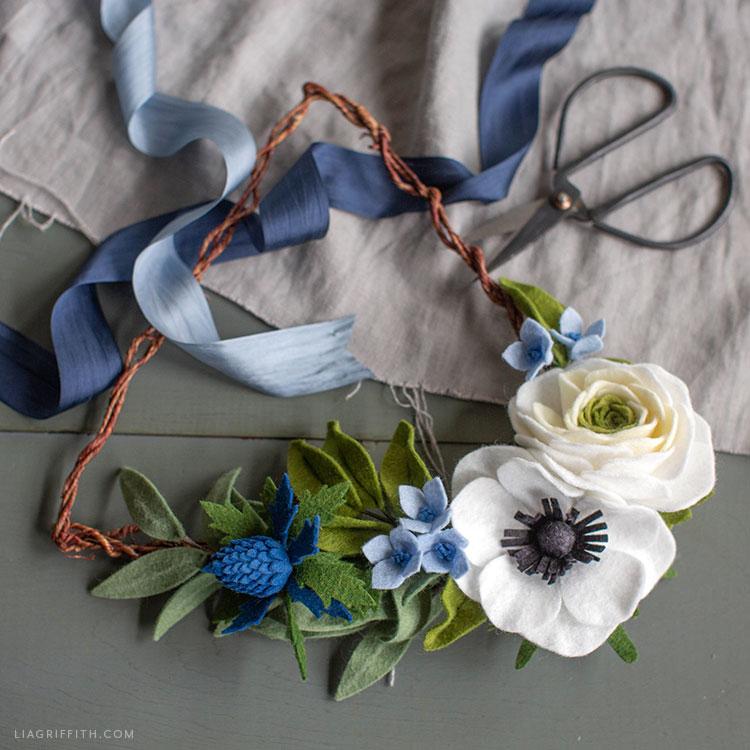 handmade felt flower triangle wreath