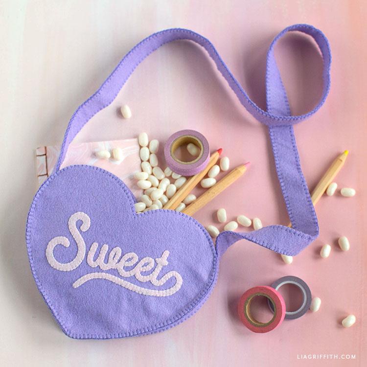 handsewn felt heart purse