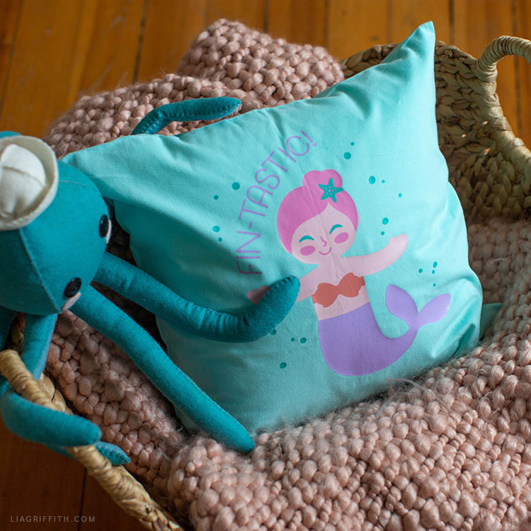 mermaid heat transfer for kid's pillow and felt octopus stuffie