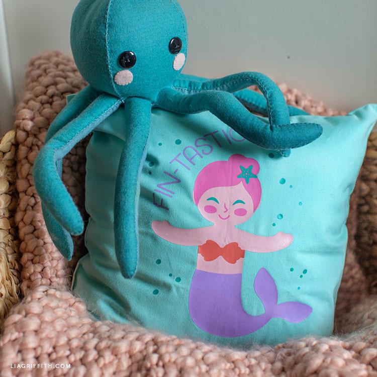 mermaid pillow iron-on design with felt octopus stuffie