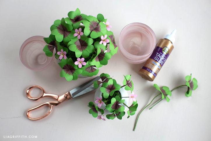 handmade paper lucky clover plants