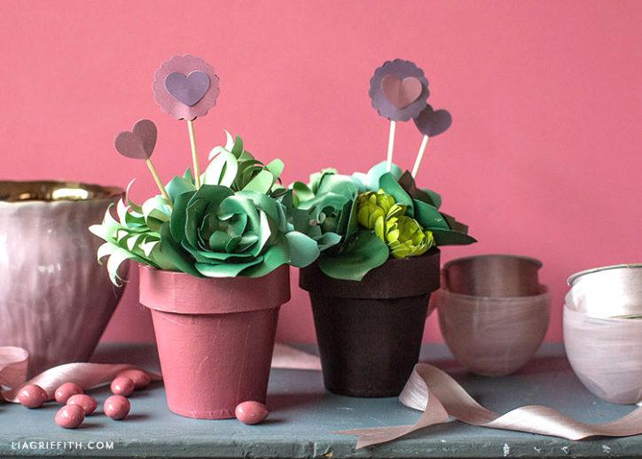 DIY paper succulent valentines