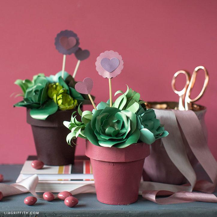 handmade paper succulent valentines