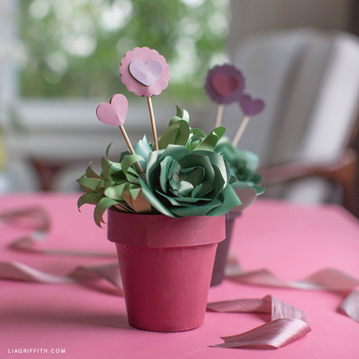 potted paper succulent valentines gift